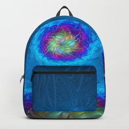 Fantasy, Abstract Fractals Art With Blue Backpack