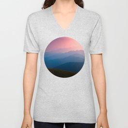 Pink & Blue Mountains Unisex V-Neck