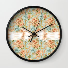 Charming County Roses Wall Clock