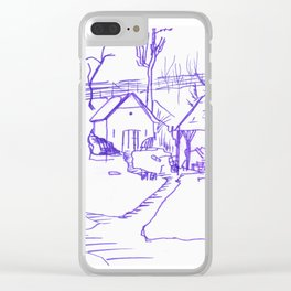 Gömörszőlős, old Hungarian backyard in winter Clear iPhone Case