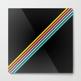 Minimal Abstract Retro Stripes 80s Style - Bakunawa Metal Print