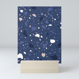 Terrazzo Pattern Design Blue Tones Mini Art Print