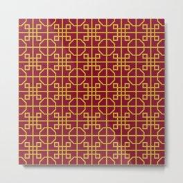 Imperial Dragon Seamless Pattern Metal Print