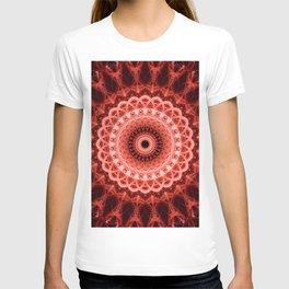 Mandala in deep red tones T-shirt
