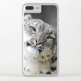 Leaning Snow Leopard Clear iPhone Case