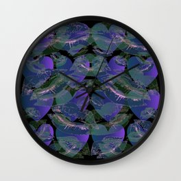 Blue Ombre Heart and Cold Kisses Pattern On Black Wall Clock