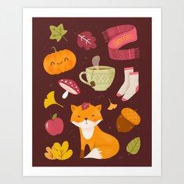 Cozy Fall - Dark Version - Pattern Art Print