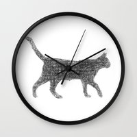 kitten Wall Clocks featuring Dust kitten by David Zydd