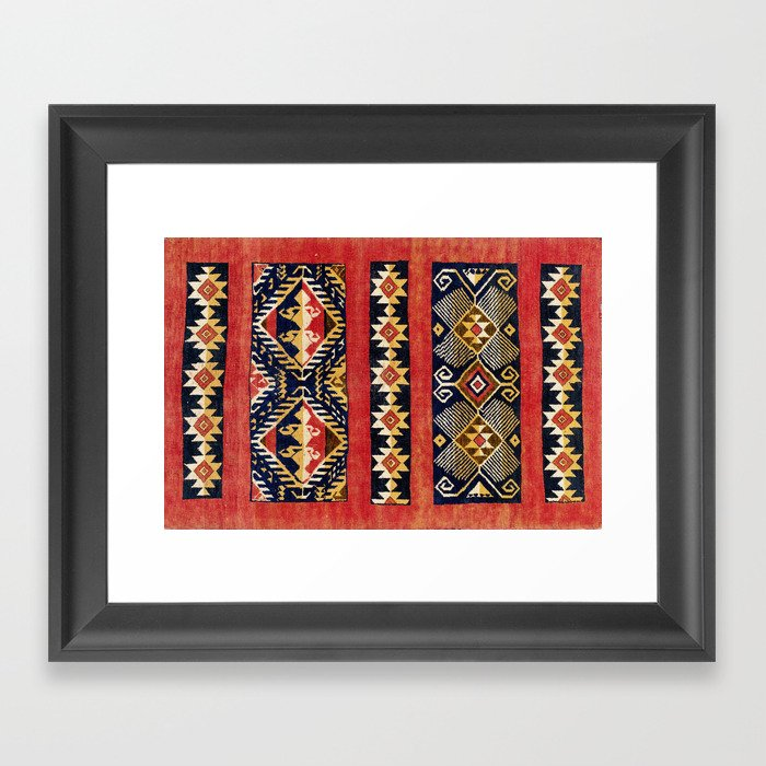 Uzbek  Antique Tribal Rug Print Gerahmter Kunstdruck