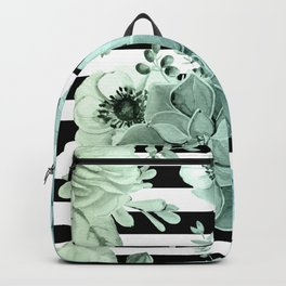 Succulents in the Garden Teal Blue Green Gradient with Black Stripes Backpack