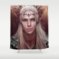 thranduil Shower Curtains featuring Thranduil Portrait by Jay Lockwood Carpenter