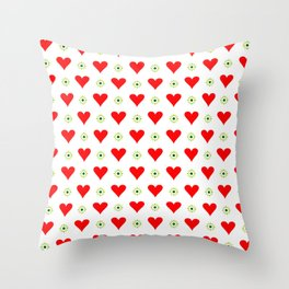 heart and star 3 - green star and red heart Throw Pillow