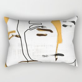 Abstract portrait with yellow Rectangular Pillow
