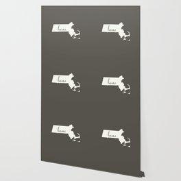 Massachusetts is Home - White on Charcoal Wallpaper