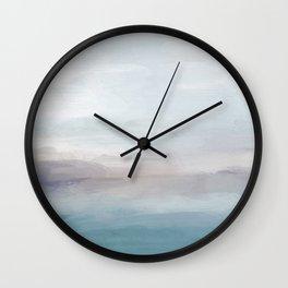 Light Gray, Mauve, Turquoise Aqua Blue Print Modern Wall Art, Abstract Painting Wall Clock