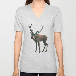 Poly Art Reindeer in the snow Unisex V-Neck