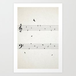 Music Score with Birds Art Print