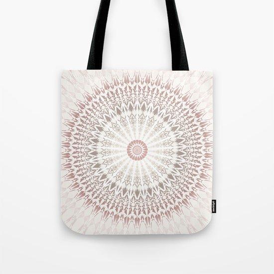 Cream Rose Mandala Tote Bag