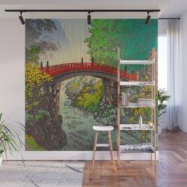 Vintage Japanese Woodblock Print Garden Red Bridge River Rapids Beautiful Green Forest Landscape Wall Mural