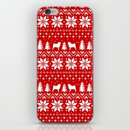 Pugs Christmas Sweater Pattern iPhone Skin