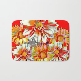 ABSTRACT WHITE-RED FLOWER STILL LIFE PASTELS Bath Mat