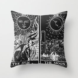 The Sun and Moon Tarot Cards | Obsidian & Pearl Throw Pillow