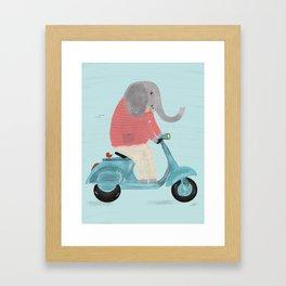elephant scooter Framed Art Print