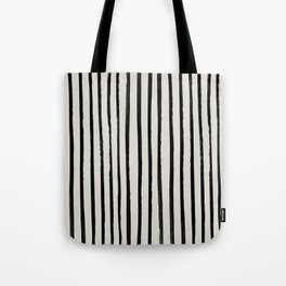 Vertical Black and White Watercolor Stripes Tote Bag