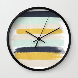Abstract stripes hand painted brushstrokes mint grey and navy gender neutral color palette Wall Clock