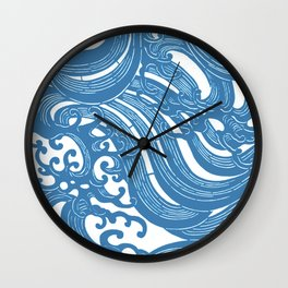 Stencil with Pattern of Waves,19th century Japan (Edited Blue) Wall Clock