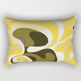 Yellow and Black Abstract Rectangular Pillow