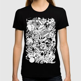 Christmas Doodles Funny and Cute Black and White Characters T-shirt