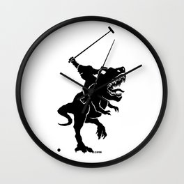 Big foot playing polo on a T-rex Wall Clock
