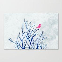 Perching bird on winter tree Canvas Print