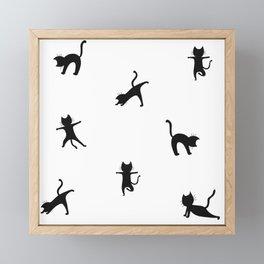 Yoga cats - black cats doing yoga Framed Mini Art Print