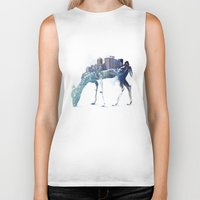 deer Biker Tanks featuring City Deer by Robert Farkas