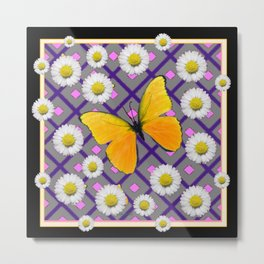 Yellow Butterfly on Black-grey Shasta Daisy Abstract Pattern Metal Print