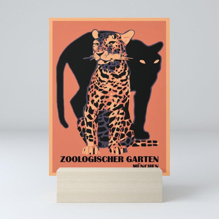 Retro vintage Munich Zoo big cats Mini Art Print