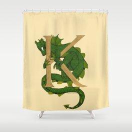 Oscar the Dragon Letter K Sans Roses Shower Curtain