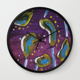 Square Colorful Abstract Seedlings No2 Art Work Wall Clock