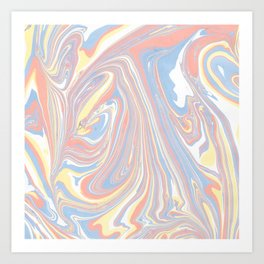 Abstract modern coral white yellow blue watercolor marble Art Print