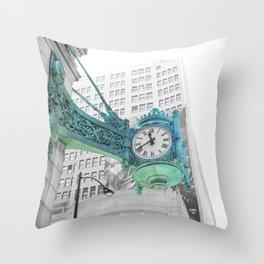 The Blue Chicago Clock Throw Pillow