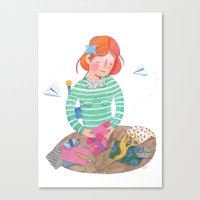 origami Canvas Prints featuring Origami by Maria Garcia