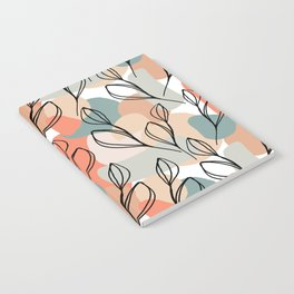 Black leaves and pastel background pattern Notebook