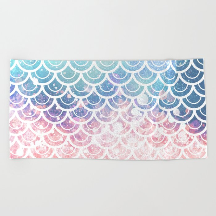 Mermaid Scales Turquoise Pink Sunset Beach Towel