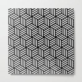 Geometric Art, Black and white, Line Art for Wall Metal Print