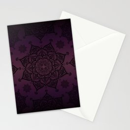 Mandala Violet Black Spiritual Zen Bohemian Hippie Yoga Mantra Meditation Stationery Cards