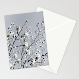 White Blossoms 2 Stationery Cards