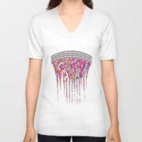 fringe V-neck T-shirts featuring Fringe by Ingrid Padilla