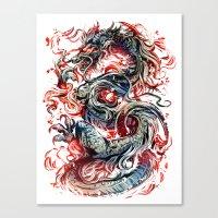 dragon Canvas Prints featuring Dragon by Kawiku